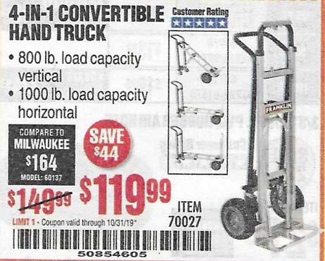 Harbor Freight Tools Coupons, Harbor Freight Coupon, HF Coupons-4-in-1 Convertible Hand Truck