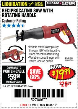 Harbor Freight Tools Coupons, Harbor Freight Coupon, HF Coupons-6 Amp Heavy Duty Reciprocating Saw