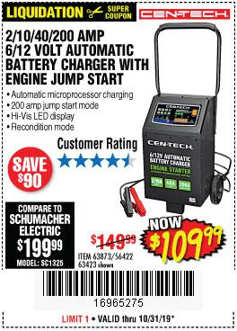 Harbor Freight Tools Coupons, Harbor Freight Coupon, HF Coupons-Cen-tech 2/10/40/200 Amp 6/12 Volt Automatic Battery Charger With Engine Jump Start