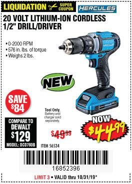 Harbor Freight Tools Coupons, Harbor Freight Coupon, HF Coupons-20 Volt Lithium-ion Cordless 1/2