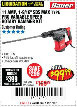 Harbor Freight Tools Coupons, Harbor Freight Coupon, HF Coupons-Bauer 10.5 Amp 1-9/16