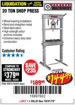 Harbor Freight Tools Coupons, Harbor Freight Coupon, HF Coupons-20 Ton Shop Press