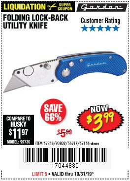 Harbor Freight Tools Coupons, Harbor Freight Coupon, HF Coupons-Folding Locking Back Utility Knife
