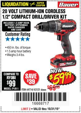 Harbor Freight Tools Coupons, Harbor Freight Coupon, HF Coupons-Bauer 20 Volt Lithium Cordless 1/2
