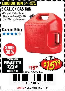 Harbor Freight Tools Coupons, Harbor Freight Coupon, HF Coupons-5 Gallon Gas Can
