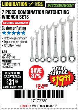 Harbor Freight Tools Coupons, Harbor Freight Coupon, HF Coupons-7 Piece Combination Ratcheting Wrench Set