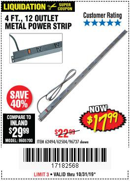Harbor Freight Tools Coupons, Harbor Freight Coupon, HF Coupons-4 Ft. 12 Outlet Metal Power Strip