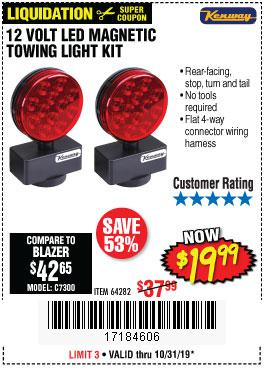 Harbor Freight Tools Coupons, Harbor Freight Coupon, HF Coupons-12 Volt Led Magnetic Towing Light Kit