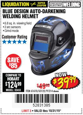 Harbor Freight Tools Coupons, Harbor Freight Coupon, HF Coupons-Auto-darkening Welding Helmet With Blue Flame Design