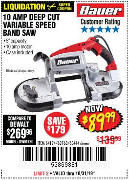 Harbor Freight Tools Coupons, Harbor Freight Coupon, HF Coupons-10 Amp Deep Cut Variable Speed Band Saw Kit