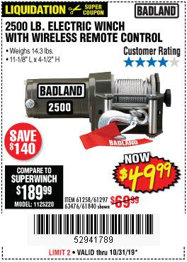 Harbor Freight Tools Coupons, Harbor Freight Coupon, HF Coupons-2500 Lb Electric Winch With Wireless Remote Control