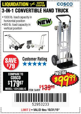 Harbor Freight Tools Coupons, Harbor Freight Coupon, HF Coupons-Franklin 3-in-1 Convertible Hand Truck