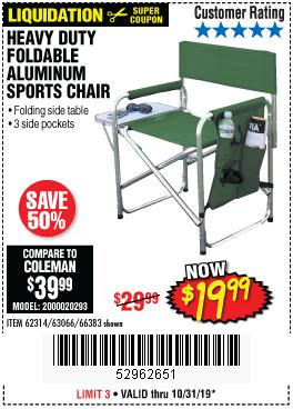 Harbor Freight Tools Coupons, Harbor Freight Coupon, HF Coupons-Foldable Aluminum Sports Chair
