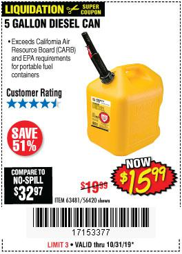Harbor Freight Tools Coupons, Harbor Freight Coupon, HF Coupons-5 Gallon Diesel Can