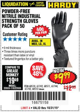 Harbor Freight Tools Coupons, Harbor Freight Coupon, HF Coupons-9 Mil Nitrile Powder-free Gloves 50 Pc.
