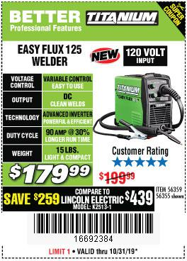 Harbor Freight Tools Coupons, Harbor Freight Coupon, HF Coupons-Titanium Easy-flux 125 Welder