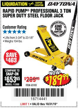 Harbor Freight Tools Coupons, Harbor Freight Coupon, HF Coupons-3 Ton Daytona Professional Steel Floor Jack - Super Duty