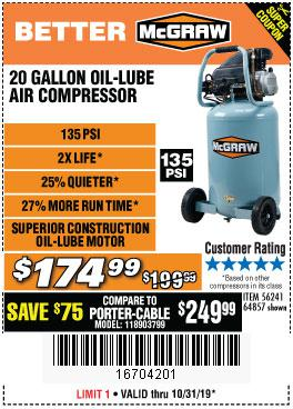 Harbor Freight Tools Coupons, Harbor Freight Coupon, HF Coupons-20 Gallon 1.6 How 135 Psi Oil Lube Vertical Air Compressor