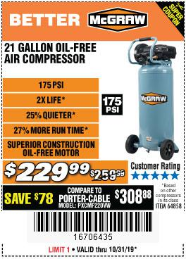 Harbor Freight Tools Coupons, Harbor Freight Coupon, HF Coupons-Mcgraw 175 Psi, 21 Gallon Vertical Oil-free Air Compressor
