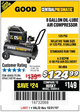 Harbor Freight Tools Coupons, Harbor Freight Coupon, HF Coupons-2 Hp, 8 Gallon 125 Psi Portable Air Compressor