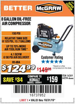 Harbor Freight Tools Coupons, Harbor Freight Coupon, HF Coupons-8 Gallon Oil-free Air Compressor