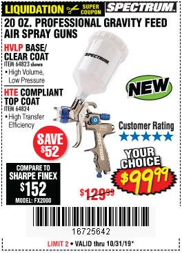 Harbor Freight Tools Coupons, Harbor Freight Coupon, HF Coupons-Spectrum 20 Oz. Professional Gravity Feed Air Spray Guns (hvlp/hte)