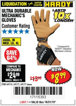 Harbor Freight Tools Coupons, Harbor Freight Coupon, HF Coupons-Ultra Durable Mechanic's Gloves