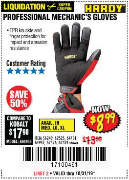 Harbor Freight Tools Coupons, Harbor Freight Coupon, HF Coupons-Professional Mechanic's Gloves