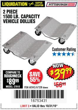 Harbor Freight Tools Coupons, Harbor Freight Coupon, HF Coupons-2 Piece 1500 Lb. Capacity Vehicle Wheel Dollies