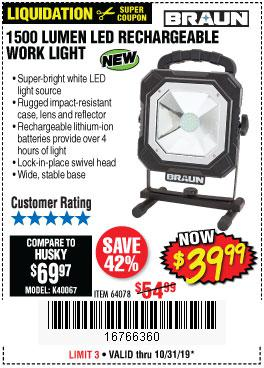 Harbor Freight Tools Coupons, Harbor Freight Coupon, HF Coupons-Braun 1500 Lumens Led Rechargeable Work Light