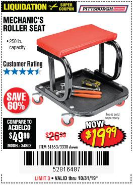 Harbor Freight Tools Coupons, Harbor Freight Coupon, HF Coupons-Mechanic's Roller Seat