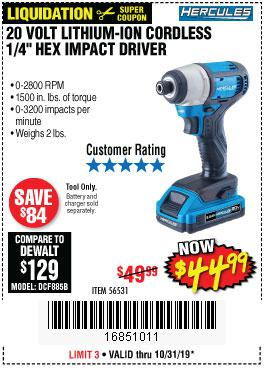 Harbor Freight Tools Coupons, Harbor Freight Coupon, HF Coupons-Hercules 20 Volt Lithium-ion Cordless 1/4
