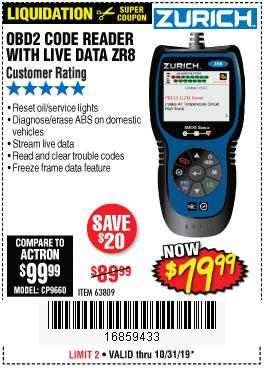 Harbor Freight Tools Coupons, Harbor Freight Coupon, HF Coupons-Zurich Obd2 Code Reader With Live Data Zr8