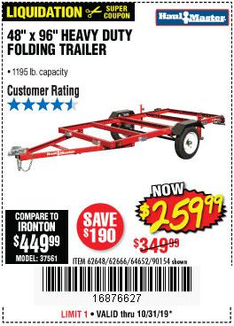 Harbor Freight Tools Coupons, Harbor Freight Coupon, HF Coupons-1195 Lb. Capacity 4 Ft. X 8 Ft. Heavy Duty Foldable Utility Trailer
