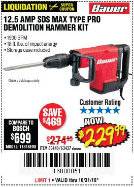 Harbor Freight Tools Coupons, Harbor Freight Coupon, HF Coupons-12.5 Amp Sds Max Type Pro Hammer Kit