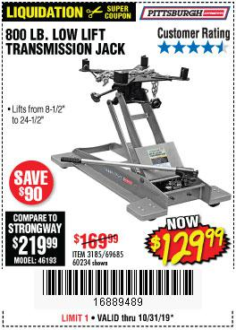 Harbor Freight Tools Coupons, Harbor Freight Coupon, HF Coupons-800 Lb. Capacity Low Lift Transmission Jack