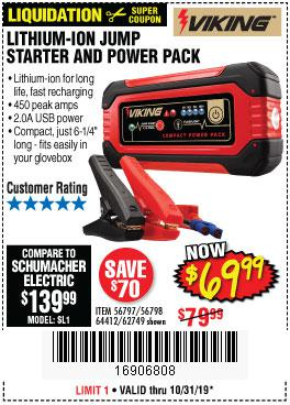 Harbor Freight Tools Coupons, Harbor Freight Coupon, HF Coupons-Lithium Ion Jump Starter And Power Pack