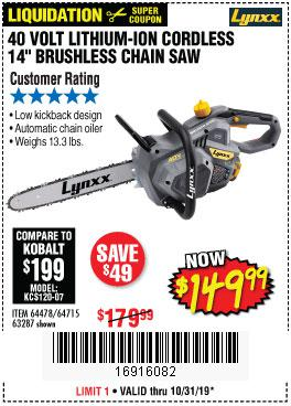Harbor Freight Tools Coupons, Harbor Freight Coupon, HF Coupons-Lynxx 40 V Lithium Cordless 14