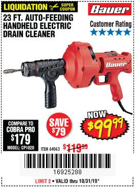 Harbor Freight Tools Coupons, Harbor Freight Coupon, HF Coupons-Bauer 23 Ft Auto Feed Handheld Electric Drain Cleaner