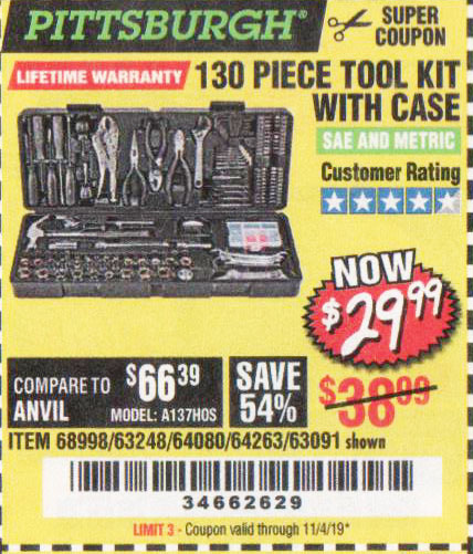 Harbor Freight Tools Coupons, Harbor Freight Coupon, HF Coupons-130 Piece Tool Kit With Case