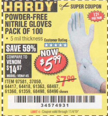 Harbor Freight Tools Coupons, Harbor Freight Coupon, HF Coupons-Powder-free Nitrile Gloves Pack Of 100 (5 Mil)