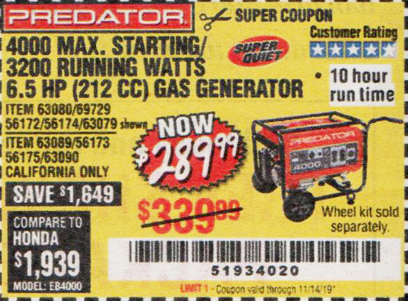 Harbor Freight Tools Coupons, Harbor Freight Coupon, HF Coupons-4000 Max. Starting/3200 Running Watts 6.5hp (212 Cc) Gas Generator