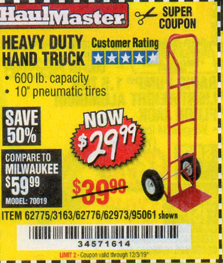 Harbor Freight Tools Coupons, Harbor Freight Coupon, HF Coupons-Heavy Duty Hand Truck