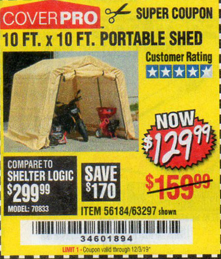 Harbor Freight Tools Coupons, Harbor Freight Coupon, HF Coupons-10 Ft. X 10 Ft. Portable Shed