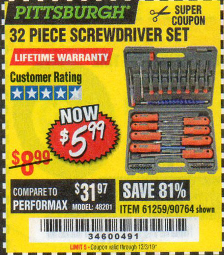 Harbor Freight Tools Coupons, Harbor Freight Coupon, HF Coupons-32 Piece Screwdriver Set