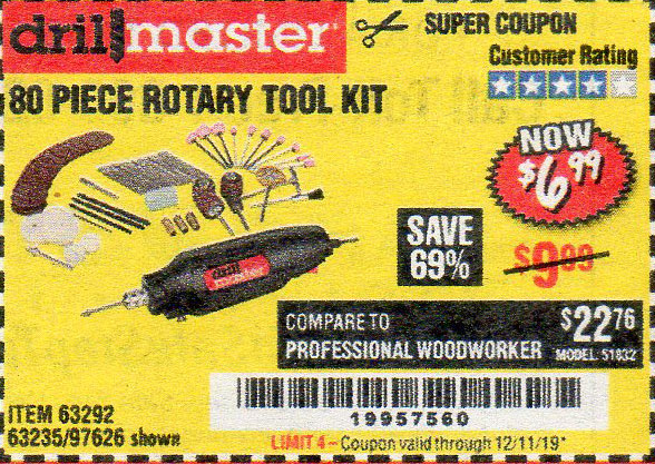 Harbor Freight Tools Coupons, Harbor Freight Coupon, HF Coupons-80 Piece Rotary Tool Kit