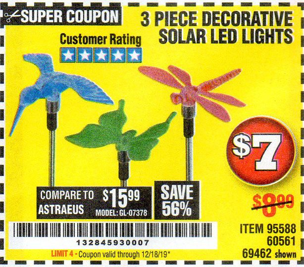Harbor Freight Tools Coupons, Harbor Freight Coupon, HF Coupons-3 Piece Decorative Solar Led Lights