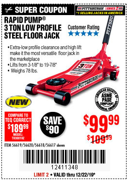 Harbor Freight Tools Coupons, Harbor Freight Coupon, HF Coupons-Rapid Pump 3 Ton Steel Heavy Duty Low Profile Floor Jack