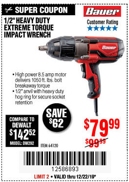 Harbor Freight Tools Coupons, Harbor Freight Coupon, HF Coupons-Bauer 1/2