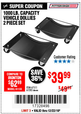 Harbor Freight Tools Coupons, Harbor Freight Coupon, HF Coupons-2 Piece Vehicle Wheel Dollies 1000 Lb. Capacity